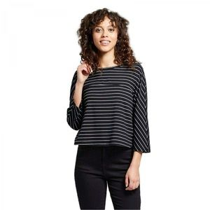 NWT Mossimo Striped Knit T-Shirt Small Black
